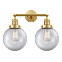 Innovations Lighting 208-SG-G202-8-LED Large Beacon LED 19 inch Satin Gold Bath Vanity Light Wall Light