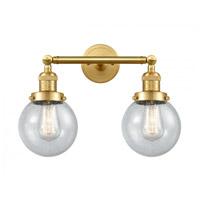 Innovations Lighting 208-SG-G204-6-LED Beacon LED 17 inch Satin Gold Bath Vanity Light Wall Light