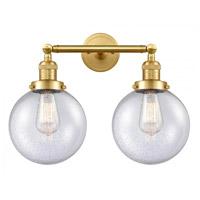 Innovations Lighting 208-SG-G204-8-LED Large Beacon LED 19 inch Satin Gold Bath Vanity Light Wall Light