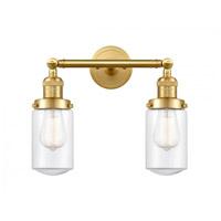 Innovations Lighting 208-SG-G312-LED Dover LED 14 inch Satin Gold Bath Vanity Light Wall Light