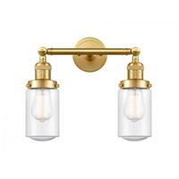 Innovations Lighting 208-SG-G314-LED Dover LED 14 inch Satin Gold Bath Vanity Light Wall Light