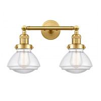Innovations Lighting 208-SG-G322 Olean 2 Light 17 inch Satin Gold Bath Vanity Light Wall Light