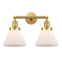 Innovations Lighting 208-SG-G41-LED Large Cone LED 18 inch Satin Gold Bath Vanity Light Wall Light