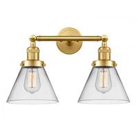 Innovations Lighting 208-SG-G42-LED Large Cone LED 18 inch Satin Gold Bath Vanity Light Wall Light