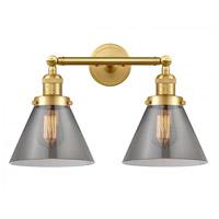 Innovations Lighting 208-SG-G43-LED Large Cone LED 18 inch Satin Gold Bath Vanity Light Wall Light