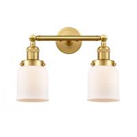 Innovations Lighting 208-SG-G51-LED Small Bell LED 16 inch Satin Gold Bath Vanity Light Wall Light