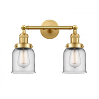 Innovations Lighting 208-SG-G52-LED Small Bell LED 16 inch Satin Gold Bath Vanity Light Wall Light