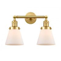 Innovations Lighting 208-SG-G61-LED Small Cone LED 16 inch Satin Gold Bath Vanity Light Wall Light