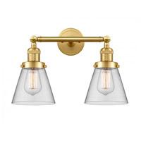 Innovations Lighting 208-SG-G62 Small Cone 2 Light 16 inch Satin Gold Bath Vanity Light Wall Light