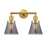 Innovations Lighting 208-SG-G63-LED Small Cone LED 16 inch Satin Gold Bath Vanity Light Wall Light