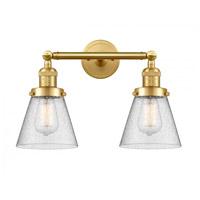 Innovations Lighting 208-SG-G64-LED Small Cone LED 16 inch Satin Gold Bath Vanity Light Wall Light