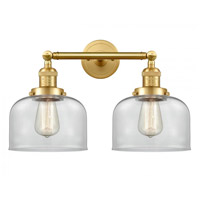 Innovations Lighting 208-SG-G72-LED Large Bell LED 19 inch Satin Gold Bath Vanity Light Wall Light Franklin Restoration