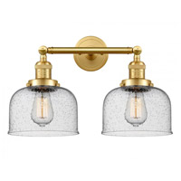 Innovations Lighting 208-SG-G74-LED Large Bell LED 19 inch Satin Gold Bath Vanity Light Wall Light Franklin Restoration