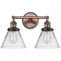 Innovations Lighting 208BP-ACBK-G42 Large Cone 2 Light 18 inch Antique Copper Bath Vanity Light Wall Light