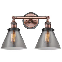 Innovations Lighting 208BP-ACBK-G43 Large Cone 2 Light 18 inch Antique Copper Bath Vanity Light Wall Light