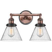 Innovations Lighting 208BP-ACBK-G44 Large Cone 2 Light 18 inch Antique Copper Bath Vanity Light Wall Light