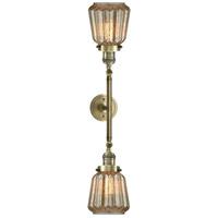 Innovations Lighting 208L-AB-G146-LED Chatham LED 6 inch Antique Brass Bath Vanity Wall Light
