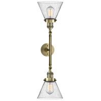 Innovations Lighting 208L-AB-G44-LED Large Cone LED 8 inch Antique Brass Bath Vanity Light Wall Light Franklin Restoration