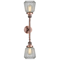 Innovations Lighting 208L-AC-G142-LED Chatham LED 6 inch Antique Copper Bath Vanity Wall Light