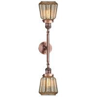 Innovations Lighting 208L-AC-G146-LED Chatham LED 6 inch Antique Copper Bath Vanity Light Wall Light Franklin Restoration