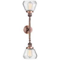 Innovations Lighting 208L-AC-G172-LED Fulton LED 7 inch Antique Copper Bath Vanity Wall Light