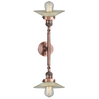 Innovations Lighting 208L-AC-G2-LED Halophane LED 9 inch Antique Copper Bath Vanity Wall Light
