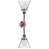 Innovations Lighting 208L-AC-G42-LED Large Cone LED 8 inch Antique Copper Bath Vanity Light Wall Light Franklin Restoration