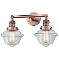 Innovations Lighting 208L-AC-G532-LED Small Oxford LED 8 inch Antique Copper Bath Vanity Light Wall Light, Franklin Restoration