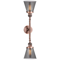 Innovations Lighting 208L-AC-G63-LED Small Cone LED 6 inch Antique Copper Bath Vanity Light Wall Light Franklin Restoration