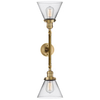 Innovations Lighting 208L-BB-G42-LED Large Cone LED 8 inch Brushed Brass Bath Vanity Wall Light