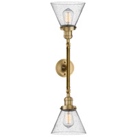 Innovations Lighting 208L-BB-G44-LED Large Cone LED 8 inch Brushed Brass Bath Vanity Wall Light