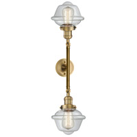Innovations Lighting 208L-BB-G532-LED Small Oxford LED 8 inch Brushed Brass Bath Vanity Wall Light