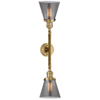 Innovations Lighting 208L-BB-G63-LED Small Cone LED 6 inch Brushed Brass Bath Vanity Wall Light