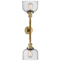 Innovations Lighting 208L-BB-G74-LED Large Bell LED 8 inch Brushed Brass Bath Vanity Wall Light