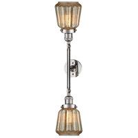 Innovations Lighting 208L-PN-G146-LED Chatham LED 6 inch Polished Nickel Bath Vanity Light Wall Light Franklin Restoration