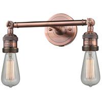 Innovations Lighting 208NH-AC-LED Bare Bulb LED 11 inch Antique Copper Bath Vanity Light Wall Light Franklin Restoration