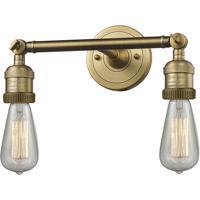Innovations Lighting 208NH-BB Bare Bulb 2 Light 11 inch Brushed Brass Bathroom Fixture Wall Light