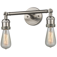 Innovations Lighting 208NH-SN-LED Bare Bulb LED 11 inch Brushed Satin Nickel Bath Vanity Light Wall Light Franklin Restoration