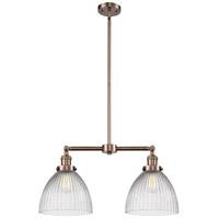Innovations Lighting 209-AC-G222-LED Seneca Falls LED 21 inch Antique Copper Chandelier Ceiling Light