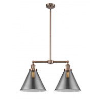 Innovations Lighting 209-AC-G43-L X-large Cone 2 Light 21 inch Antique Copper Chandelier Ceiling Light