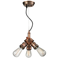 Bare Bulb 3 Light 8 inch Antique Copper Mini Chandelier Ceiling Light