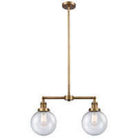 Innovations Lighting 209-BB-G204-8-LED Large Beacon LED 25 inch Brushed Brass Chandelier Ceiling Light Franklin Restoration