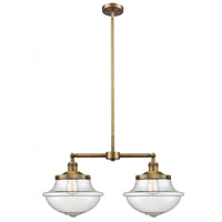 Innovations Lighting 209-BB-G544 Large Oxford 2 Light 25 inch Brushed Brass Island Light Ceiling Light Franklin Restoration