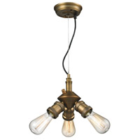 Bare Bulb 3 Light 8 inch Brushed Brass Mini Chandelier Ceiling Light