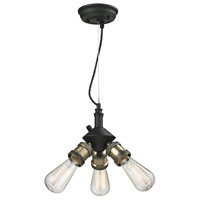 Innovations Lighting 209-BBB Signature 3 Light 8 inch Black and Brushed Brass Mini Chandelier Ceiling Light