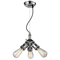 Bare Bulb 3 Light 8 inch Polished Nickel Mini Chandelier Ceiling Light