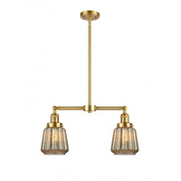 Innovations Lighting 209-SG-G146-LED Chatham LED 21 inch Satin Gold Chandelier Ceiling Light Franklin Restoration