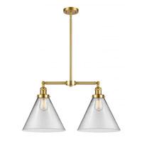 Innovations Lighting 209-SG-G42-L X-Large Cone 2 Light 21 inch Satin Gold Chandelier Ceiling Light, Franklin Restoration