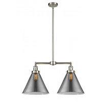 X-Large Cone 2 Light 21 inch Brushed Satin Nickel Chandelier Ceiling Light