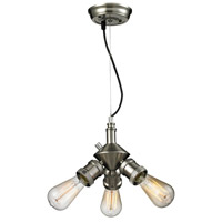 Bare Bulb 3 Light 8 inch Brushed Satin Nickel Mini Chandelier Ceiling Light